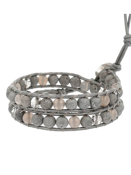 Chan Luu Agate Mix Single Wrap Bracelet - SILVER