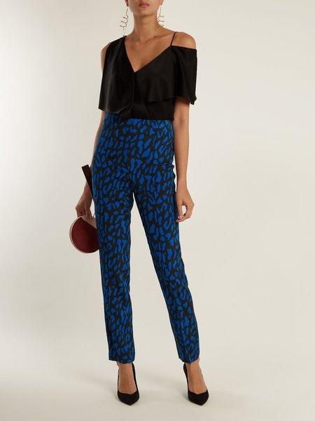 Diane Von Furstenberg Belmont-Print Skinny-Leg Trousers - COBALT BLUE