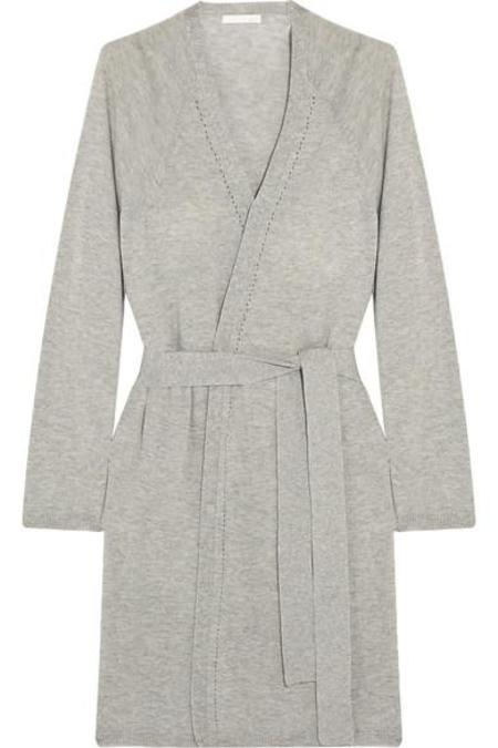 SKIN Wool Modal and Cashmere-Blend Robe - GREY