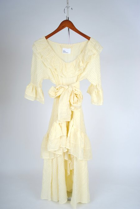 Lisa Marie Fernandez Laura Dress - Yellow Striped Crinkle