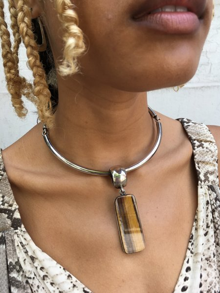 KC Vintage Silver Choker with Tigereye Pendant