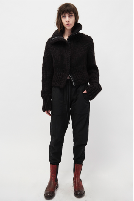 KES Hand Knitted Cropped Zipper Jacket - Black