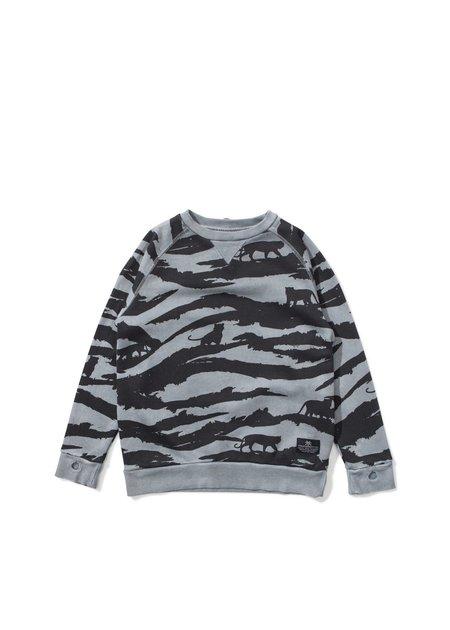 Kids Munsterkids Washed Black Tiger Camo Sweatshirt