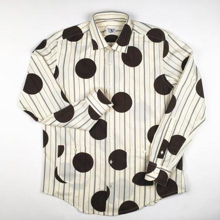 Tony Shirtmakers The Spot Print on Vintage Stripe Shirt