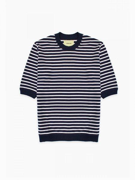 De Bonne Facture Japanese Mariniere Half Sleeve Relaxed T-Shirt - Navy and Ecru