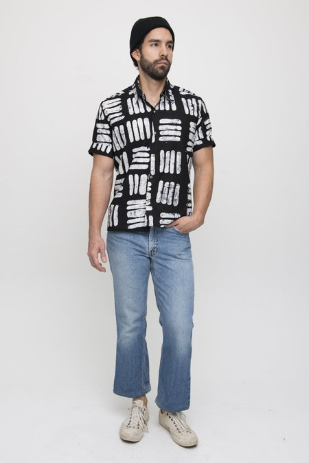 Osei-Duro COTTON BUTTON UP - BLACK BASKET