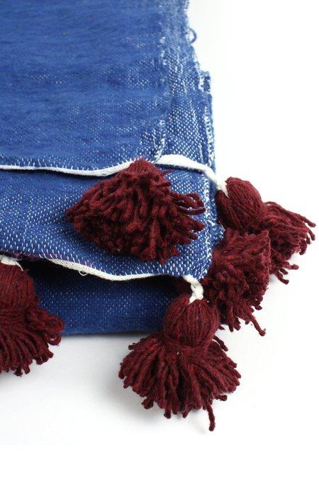 Bohemia Design Wool Pom Pom Blanket - Indigo