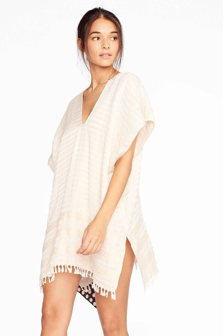 Wax & Cruz Natural Stripe XO Caftan - white