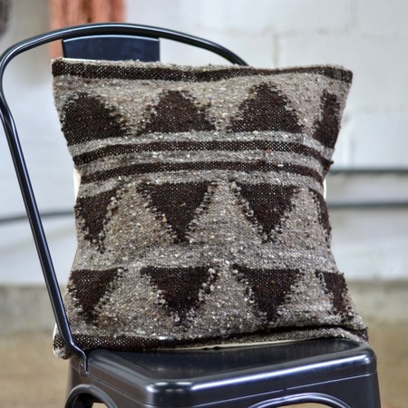 Meso Goods Stripes & Triangles Wool Pillow - Black/Grey
