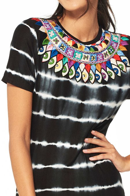 Uzma Bozai Zain Embroidered Tie-Dye Dress - BLACK/WHITE
