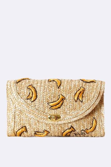 LA Jewelry Plaza Raffia Straw Clutch - Bananas
