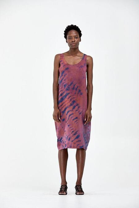 Liam of York Scoop Neck Silk Dress - mauve/indigo tye-dye