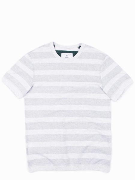 Reigning Champ Striped Terry Reversible Crewneck Tee - Heather Ash/Court Green