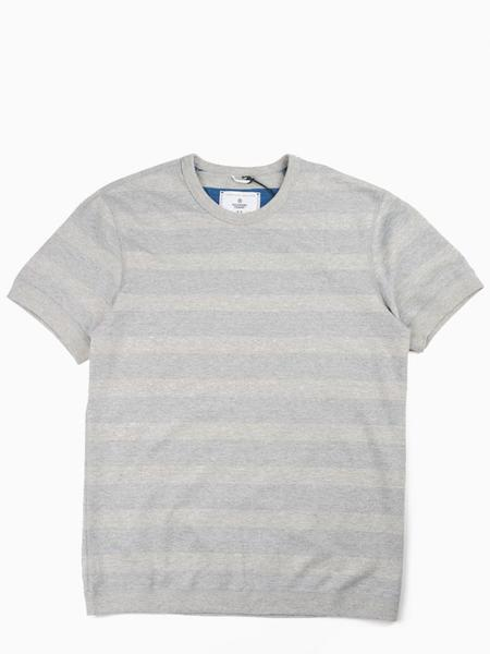Reigning Champ Striped Terry Short Sleeve Reversible Crewneck Tee - Heather Grey/Court Blue