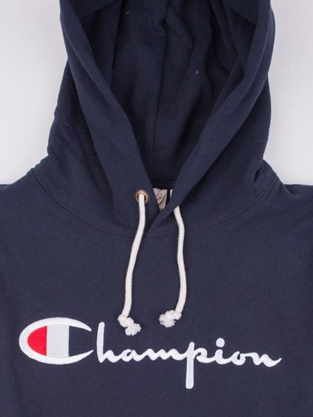 Champion Reverse Weave Terry Script Pullover Hood Sweatshirt - Navy