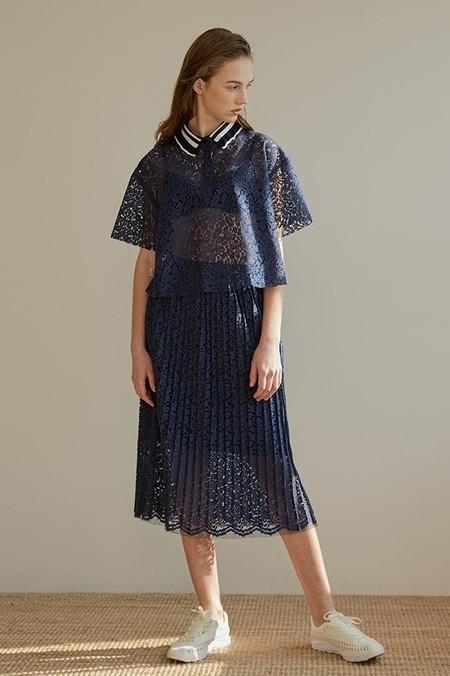 AMONG Lace Pleats SK - NAVY