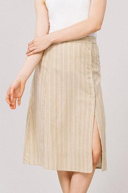 Listicle Stripe Button Side Slit Midi Skirt - Taupe