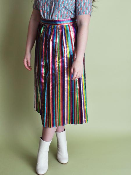 One Imaginary Girl Lamé Striped Pleated Midi Skirt - Rainbow