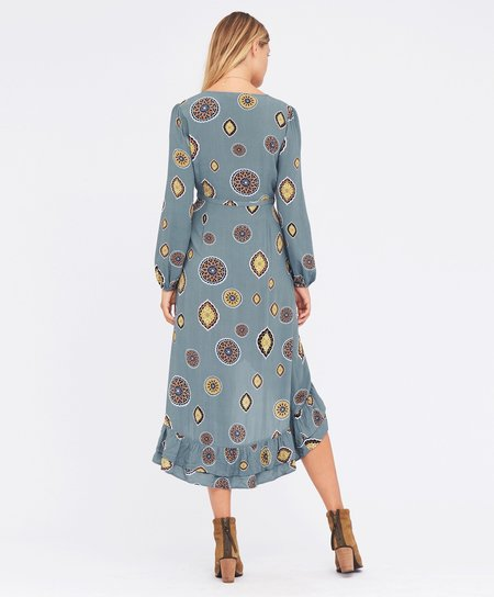 Tigerlily Matisse Wrap Dress - Blue