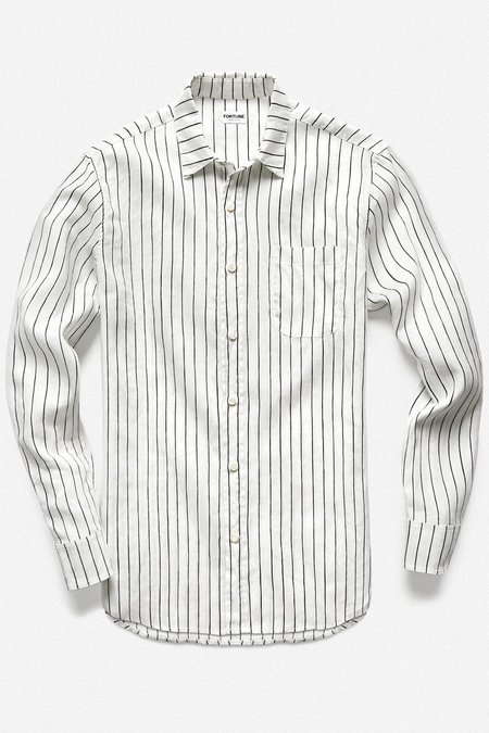 Fortune Goods Striped Vedado Shirt - White/Black