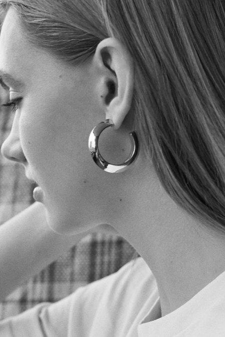 Maria Black Medium Else Hoop Earring - Silver