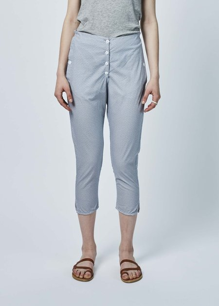 Hazel Brown Button-Fly Print Pant - Blue/White