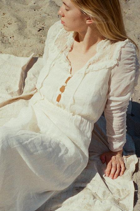 Casia Vintage Lace Detail Midi Dress - Ivory