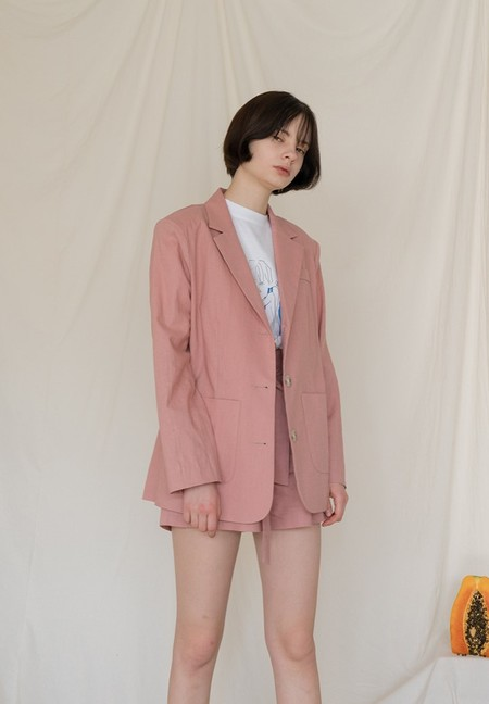 AMONG A Linen Jacket - PINK