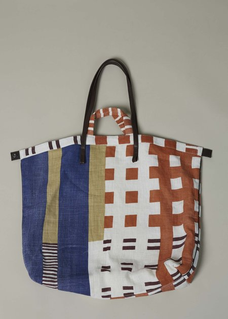 Epice Leather Strap Linen Tote - Orange/Blue