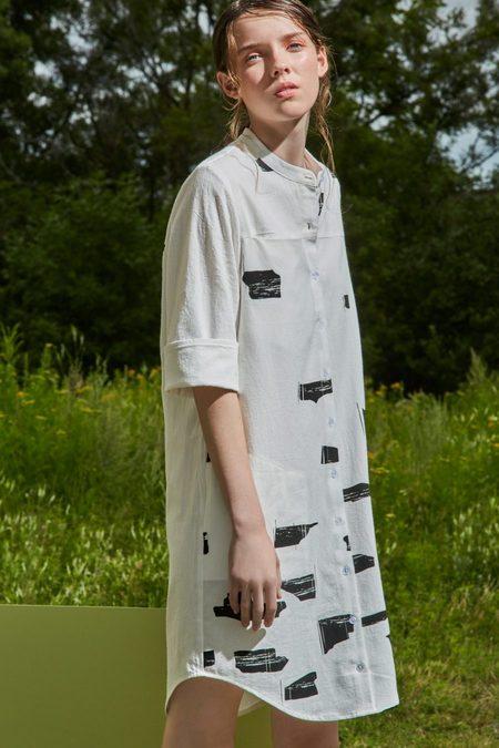 Eve Gravel Dans Le Bois Dress/Tunic - Cream with Black print
