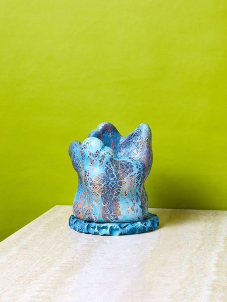 Concrete Cat Planter - blue