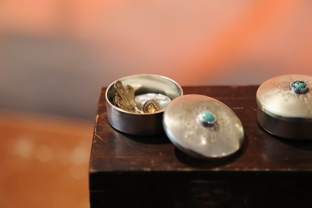 MoonPi Pill Box - White Brass and Turquoise