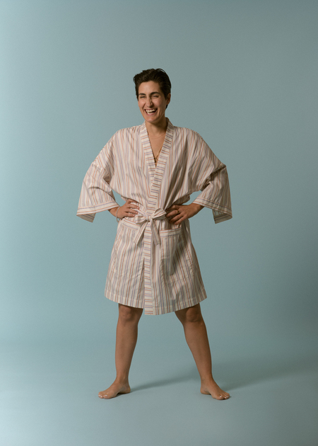 Kinda Sleepwear The Everyday Short Robe in Stripe