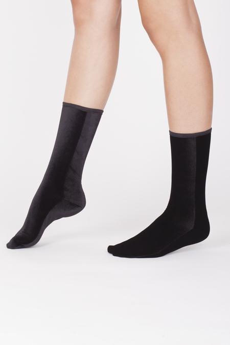 VELVET SOCK'S by SIMONE WILD SET of 2 pairs Ankle - BLACK & WINE