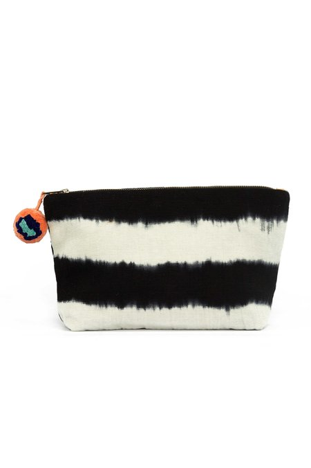 Mercado Global Hand-Dyed Cristina Cosmetic Pouch - Black/White