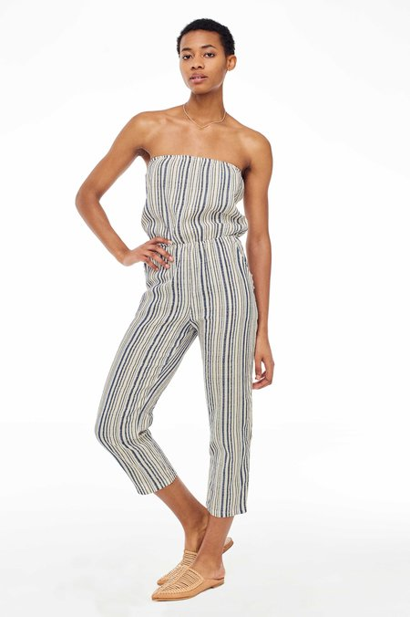 Elina Lebessi Mykonos Strapless Jumpsuit - Off-White/Blue