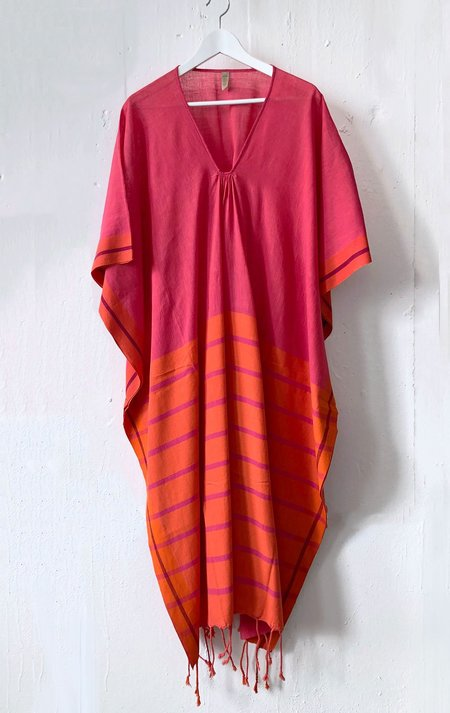 Two tassel caftan - pink/orange