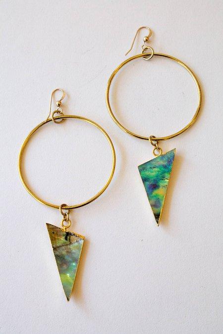 Sheila B Abalone Hoop Earring - Gold