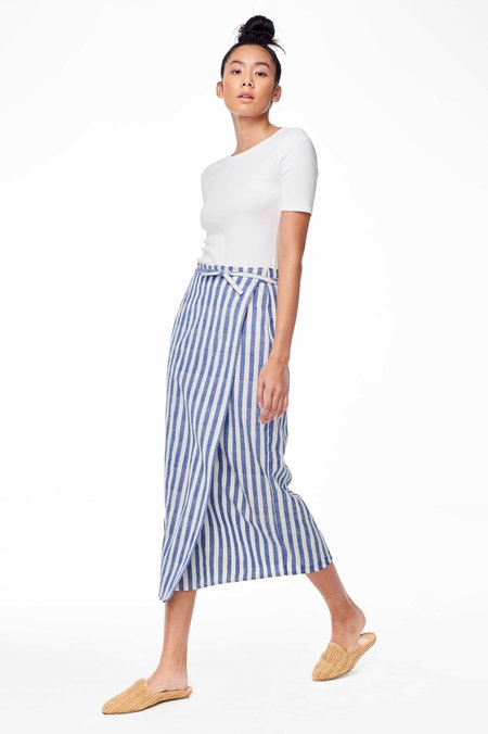 Proud Mary Exclusive La Paz Wrap Skirt - Blue/White Stripe