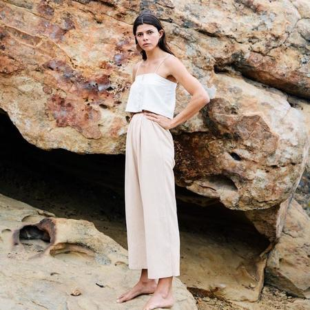 Ozma Cropped Wide Leg Pant - Conch