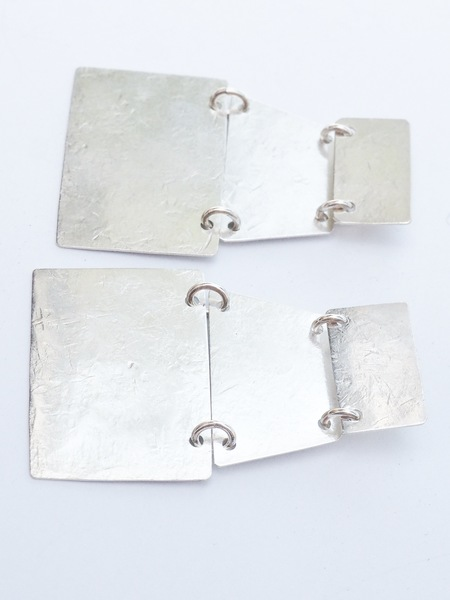 Annie Costello Brown Stak Earrings - Silver