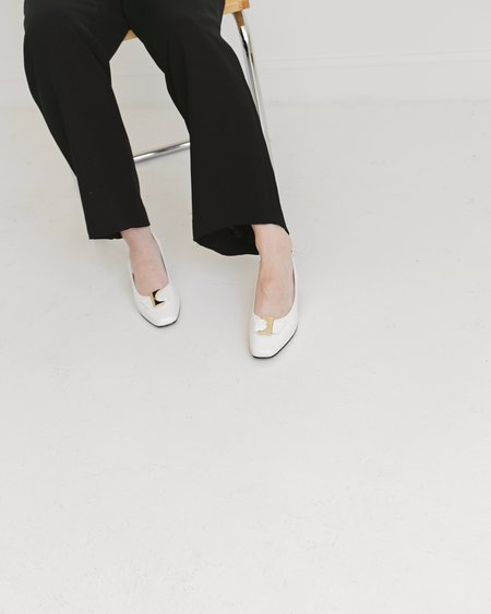 Kaleidos Vintage Slingbacks with Gold Buckles - White
