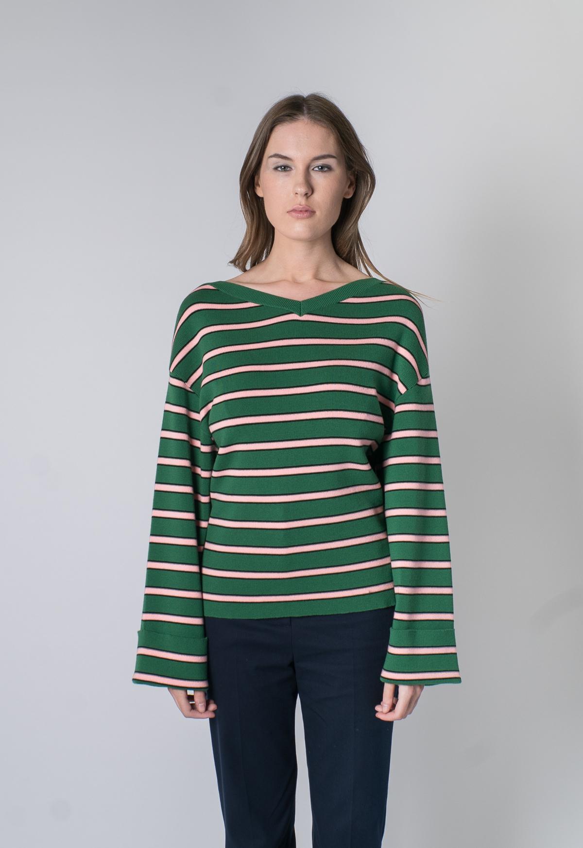f192ec33d5d4 Alexa Chung Oversized Striped Knit - Green Pink