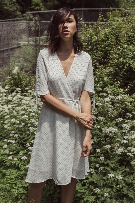 THXGIVING Small Polka Dot Wrap Dress - White