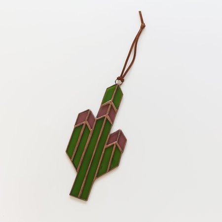 Brewer and Marr Glassworks Saguaro Cactus Sun Catcher - Rose/Copper Patina