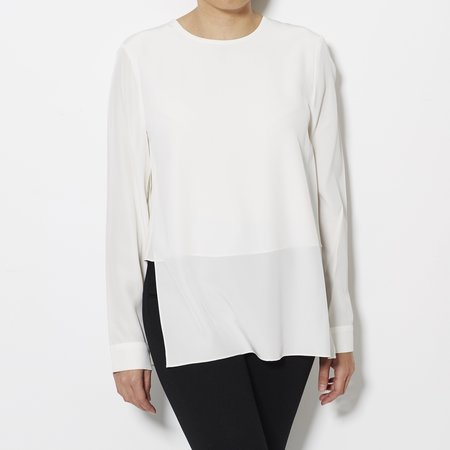 Tibi Silk Crepe de Chine Layered Long Sleeve Top - Ivory