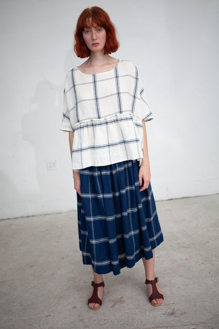 ICHI ANTIQUITES Linen Check Skirt - Navy