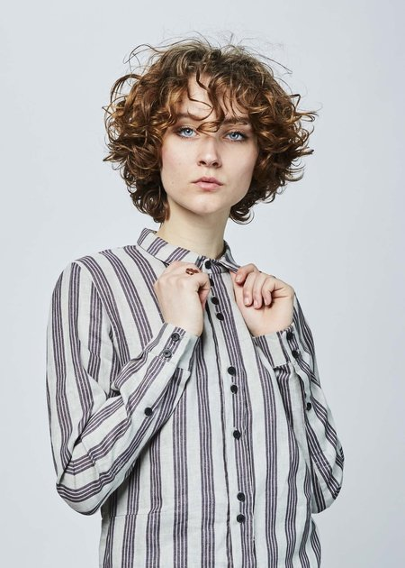 Aleksandr Manamis Mountain Edge Long Shirt - Grey/Maroon Stripe