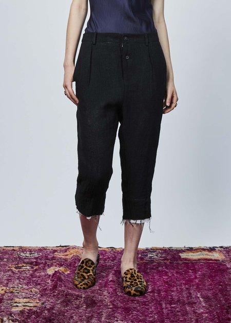 Aleksandr Manamis Woven Linen Cropped Pant - black