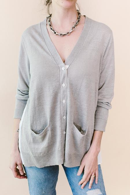 Basco Pleat Back Linen Cardigan - gray